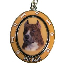Pit Bull, Brindle & White Key Chain