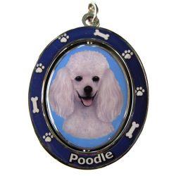 Poodle, white Key Chain