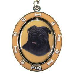 Pug, black Key Chain