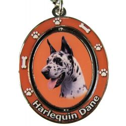 Harlequin Dane Dog  Key Chain