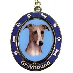 Greyhound, Fawn & White Key Chain