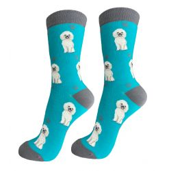 Poodle White Happy Tails Socks