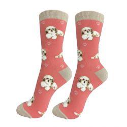 Shi Tzu Tan & White Happy Tails Socks