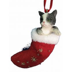 Black and white cat Stocking Ornament