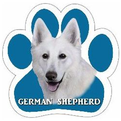 German Shepherd, white Car Magnet